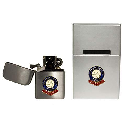 Shrewsbury Town Football Club stormproof Petrol Lighter and Hard case flip top Cigarette Packet Holder