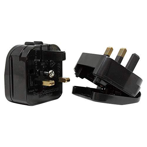 PowerConnections - Adaptador de Enchufe Europeo a Enchufe UK Ingles de 2 a 3 Patas - Nuevo - x2 Unidades