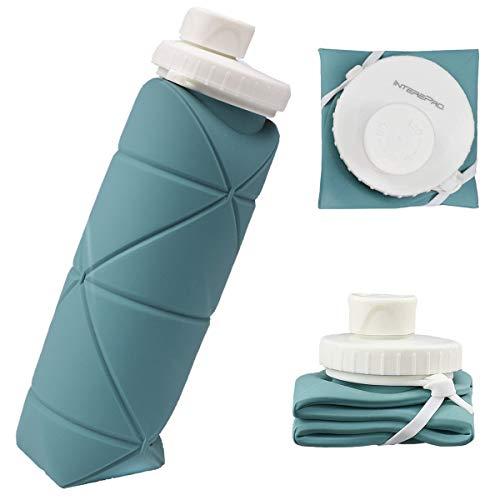 Botellas de agua plegables, libre de Bpa, botella de agua plegable de silicona de grado alimenticio, reutilizable, plegable, para gimnasio, viajes, deportes y al aire libre (gris-azul)