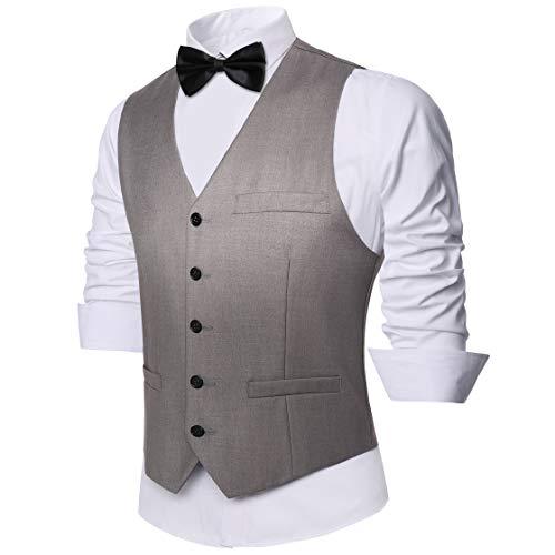 Coucoland Chaleco de traje para hombre, ajuste delgado, traje de negocios formal, chaleco clásico con cuello en V para boda fiesta nupcial, gris, XS