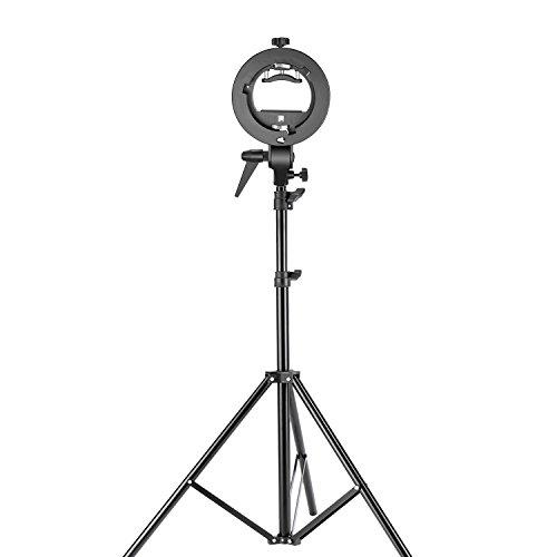 Neewer Dreibein, Stativ für Studio-Fotografie, S-Typ, Speedlite-Halterung mit Bowens-Halterung und 190Zentimeter verstellbar, Lampenständer für Blitzlicht-Vorsatz, Reflektor, Schirm