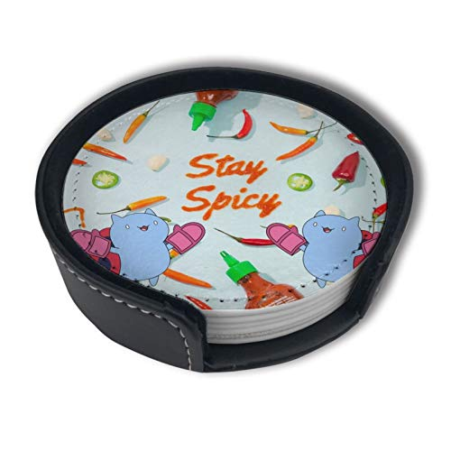 BJAMAJ Chili Sauce Stay Spicy Premium Pu Leather Coasters, Drink Round Coasters With Holder Sets, Suitable For Home And Kitchen(6pcs)
