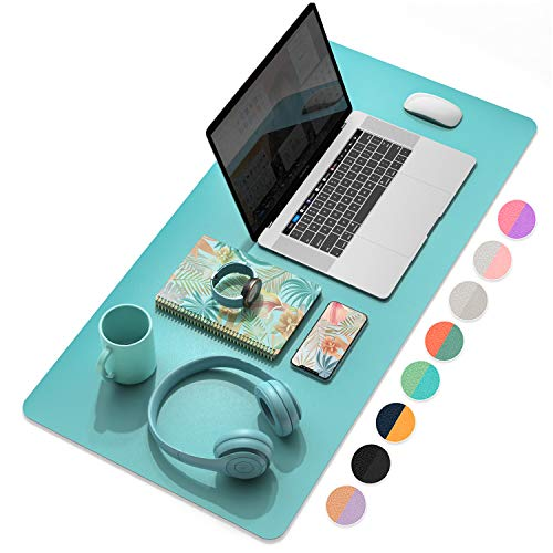 """YSAGi Multifunctional Office Desk Pad, Ultra Thin Waterproof PU Leather Mouse Pad, Dual Use Desk Writing Mat for Office/Home (31.5"""" x 15.7"""", Calamine Blue+Cobalt Green)"""