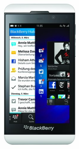 BlackBerry Z10 Smartphone, Display da 4.2 Pollici, Touchscreen, Fotocamera 8 Megapixel, Memoria Ampliabile 16 GB, 4G LTE, Bianco [Germania]