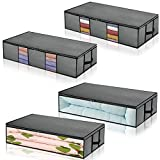 Underbed Storage Bags Long Under The Bed Organizer Storage Container 4-pack for Clothes, Comforters, Blanket, Foldable with Clear Window Light Grey