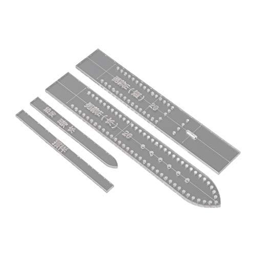 Baiyao 4-teiliges Set aus transparenten Acryl-Schablonen für Uhrenarmbänder, Schablonen für Heimwerker, Lederhandwerk, Heimbedarf für Herren
