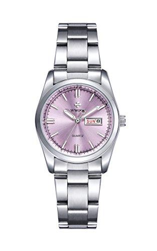 qingmei de la mujer relojes Classic negocios cuarzo luminoso semana Calendario Correa De Acero Inoxidable Reloj de pulsera
