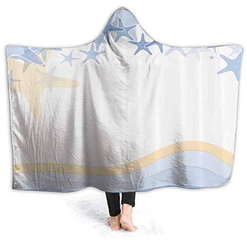 Timdle Sherpa tragbare Decke Poncho für Erwachsene Frauen M?nner gewellte Linien Vintage warm, weich, gemütlich, kuschelig, Komfort Geschenk, Keine ?rmel 80W von 60H Zoll (mit Kapuze)