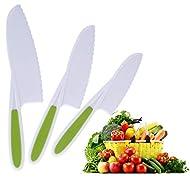 3-Piece Plastic Kids Knife Set - Salad Lettuce Knife for Children - Kid Safe Kitchen Cooking Chef Nylon Knife - Perfect Cutting Knives for Fruit, Vegetables, Cake, Bread, Green