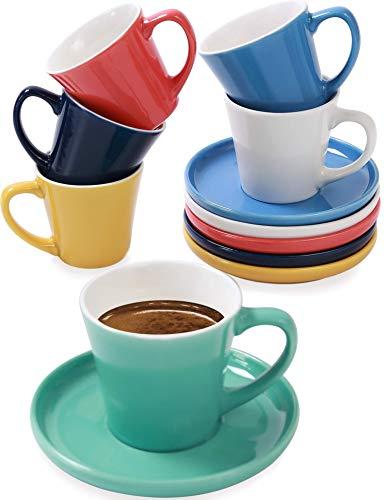 Juego de 6 Tazas de Cafe Espresso con Platos - Ceramica -...