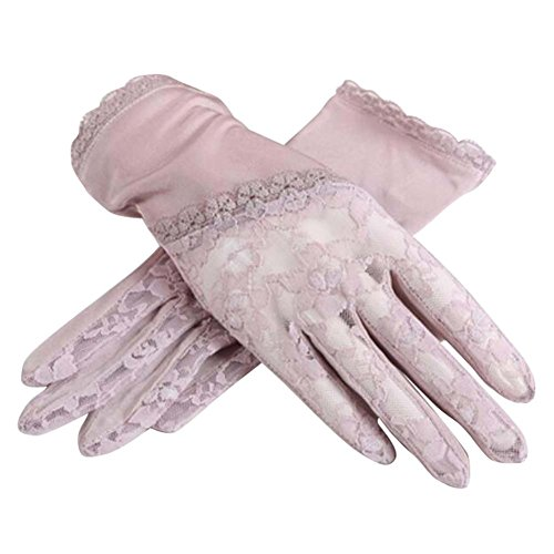 Black Temptation Gants de Soleil de Style Mince et Court utilisent en été Anti-UV et écran Tactile, Mauve pâle