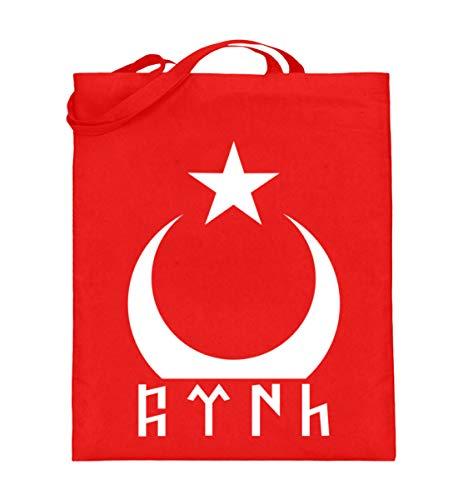ALBASPIRIT Türk Göktürk Ayyildiz Flagge Türkei Halbmond Stern Fahne Türkiye Cumhuriyeti Geschenk - Jutebeutel (mit langen Henkeln) -38cm-42cm-Rubinrot