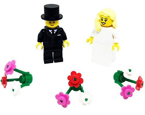 Lego Braut mit blondem Haar und Bräutigam mit Blumen