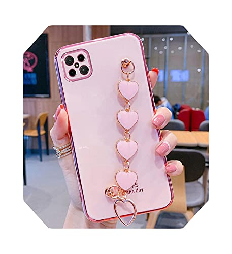 Fashion Heart Wristband - Funda para iPhone 12 Pro Max Case para iPhone 11 XR X XS Max 6 7 8 Plus Plating Phone Cover-Pink-for iPhone XS Max