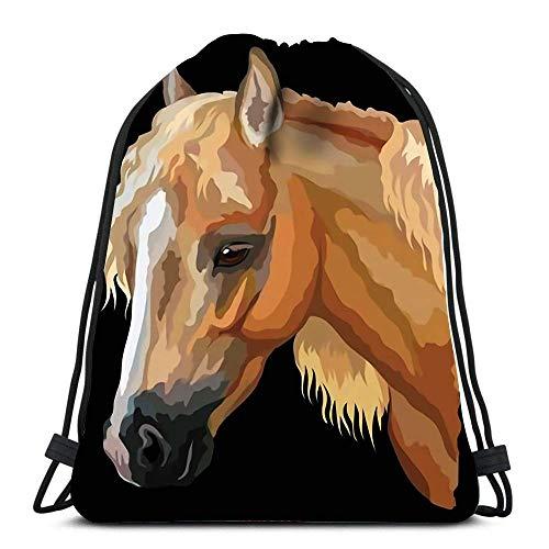 BXBX Durable Drawstring Backpack Farbiges Porträt von Palomino Welsh Pony Horse Head mit Langer Mähne zum Mitnehmen