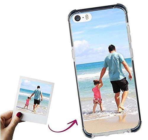 Mookase Funda para iPhone 5 Personalizada Reforzada para TU MÓVIL con Imagen O Texto, Carcasa Personalizable, Gel Flexible, Borde Trasparente, Regalo Original