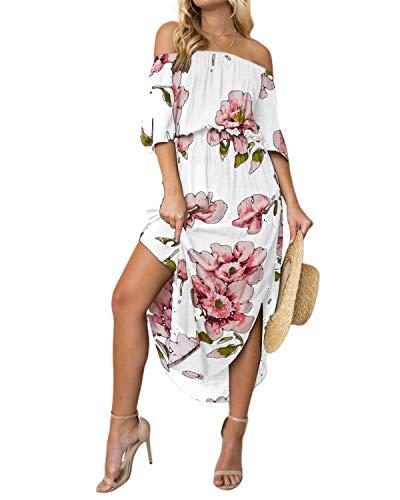 YOINS Sommerkleid Damen Lang V-Ausschnitt Off Shoulder Maxikleider für Damen Kleider Lose Kleid Strandmode,Schulterfrei-weiß,EU 36-38(Small)