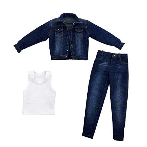 ZSMD 1/6 Scale Heren-figuur pop kleding, handgemaakte volledige pak, jeans jas + broek + vest outfit voor 30 cm mannelijke actiefiguur Phicen
