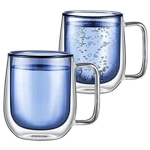 CMXING Tazas de café de Pared Doble Copas Tazas de café Termo Transparentes aisladas para Espresso Cappuccino Latte (Azul-300mL)