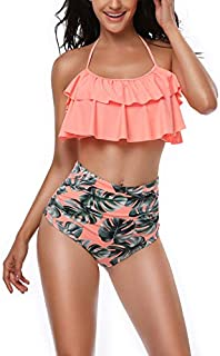 papasgix Womens High Waisted Bikini Swimsuit Retro Ruffled Vintage Two Pieces Bathing Suits Racerback Top Tankini,12% coupon applied.,with coupon (some sizes/colors)