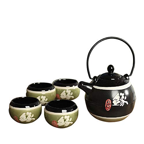 Panbado Set 5 Pezzi, Set da tè Servizo da Teiere e Caraffe per caffè in Porcellana Ceramica Kungfu da Viaggio Portatile Vintage Stile Giapponese, Nera Verde