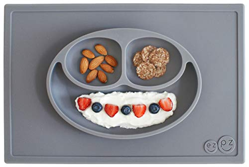 ezpz Happy Mat (Gray) - 100% Silicone Suction Plate with Built-in Placemat for Toddlers +...