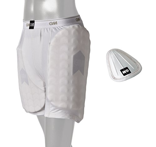 GM Cricket 909 Shorts with Protective Padding Set (Left & Right) and Abdominal Guard ' Men's Size