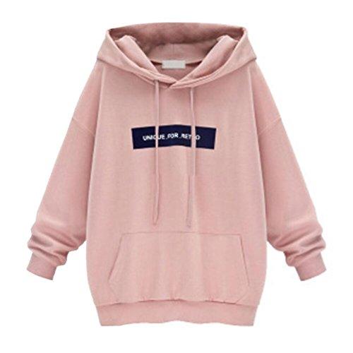 TWIFER Damen Übergröße Kapuzenpullover Langarm Sweatshirt Pullover Hoodie (S-6XL) (M, Rosa)