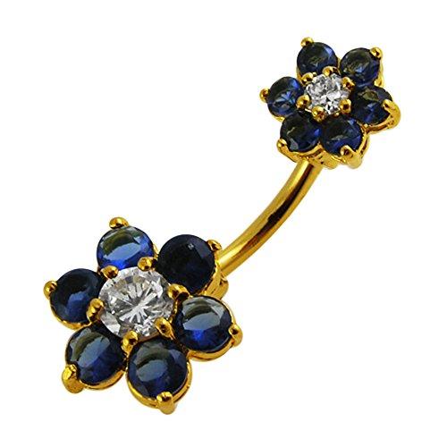 3 micron 18K vergulde donkerblauwe edelsteen Twin bloemen 925 sterling zilveren navelpiercing met 316L chirurgisch staal 14Gx3/8(1.6x10MM) banaan