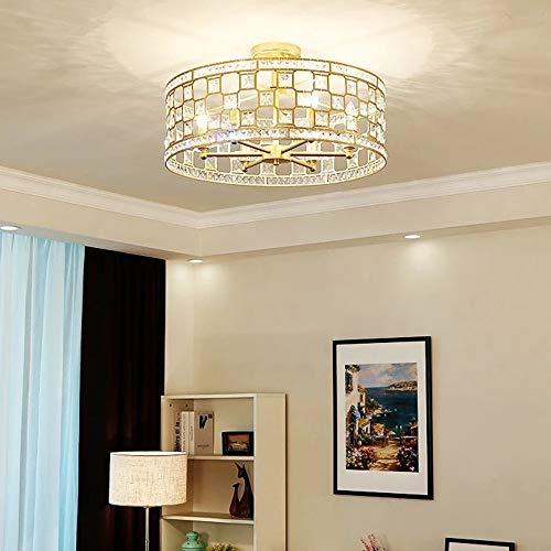MGWA Luz de Techo Cristal Americano Estilo Europeo Dormitorio Simple Restaurante Europeo Porche Balcón Habitación Princesa Luz Lámpara De Lujo Lámpara