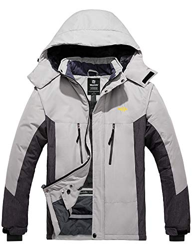 Wantdo Men's Waterproof Ski Fleece Jacket Warm Winter Raincoat Parka Gray XL