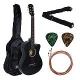 Juarez Acoustic Guitar, 38 Inch Cutaway, 38CMB with Bag, Strings, Pick and Strap, Matte Black