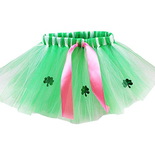 Haptian Adult Kids Saint Patrick Day Tüll Tutu Rock mit Band Green Pailletten Shamrock