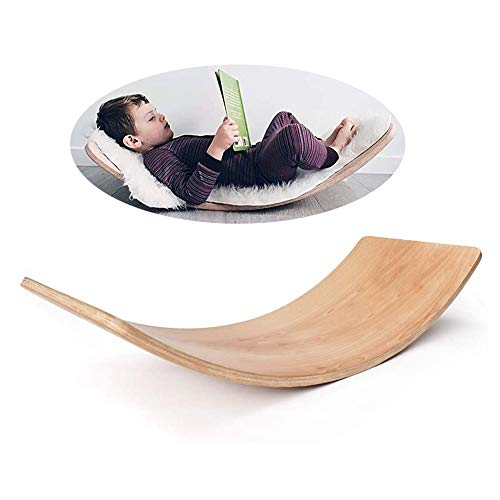 XLNB Balance Board in Legno per Bambini | Tavola di Legno Montessori | Tavola a Dondolo Curvo | Tavola Oscillante per Bambini Premium