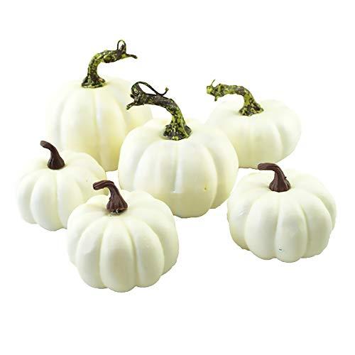 HooAMI 6 Stück künstliche Mini Weiß Kürbis Herbst Halloween Thanksgiving Christmas Home Draussen Party Dekoration