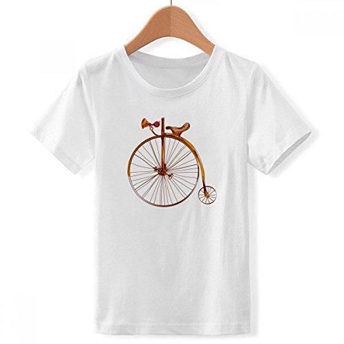 DIYthinker Jungen Altmodisches Fahrrad High Wheeler Britain Crew Hals Weißes T-Shirt Small Mehrfarbig