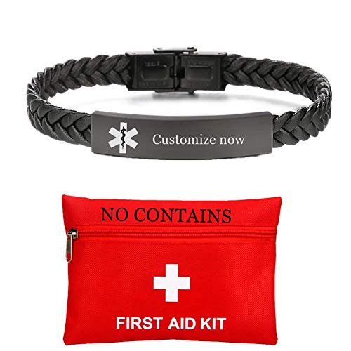 ForeverWill NO MRI Device Implant Medical Alarm Bracelet Personalized ID Alert Leather Bracelets for Women Men Emergency Identification Jewelry,Customized