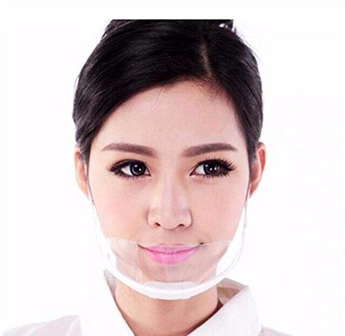 Chengyida 10 Stück dauerhafte Nutzung Hotel Küche Transparent Catering Maske Anti-Beschlag-Kunststoff Maske für Küche Restaurant Lächeln Mund Masken