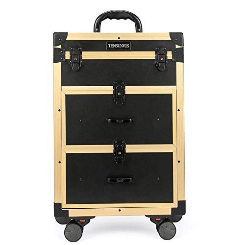 DDL Large Suitcase with ing Drawers Lockable Hairdressing Trolley Rolling Cosmetic Tool Box, P