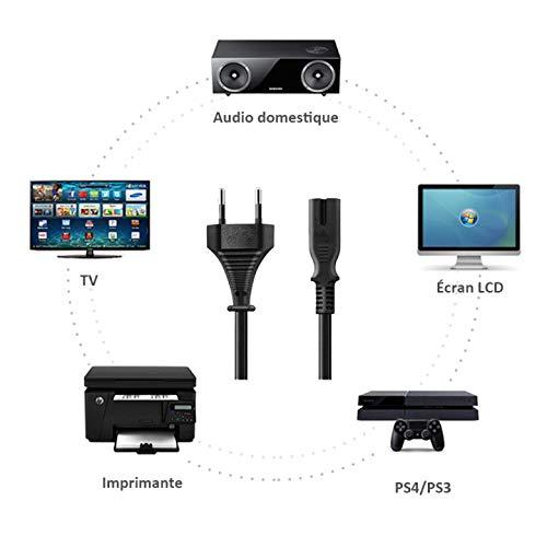Outtag AC Power Cable d'alimentation C7 Euro Connecteur pour Sony Samsung Philips TV Machines à Coudre Broder Vidéo PS4 Slim Pro Télévision Playstations Imprimante Canon MG3550 Enceinte Sony MHC-V11