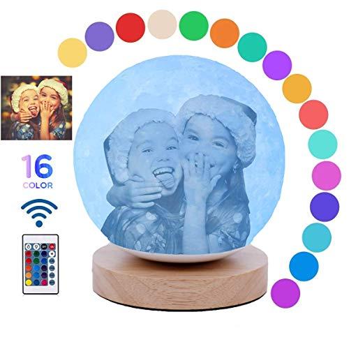 Personalisierte Mond Lampe mit Foto, 3D Nachtlicht 16 Farbe LED Mondlicht Nachttischlampe Fernbedienung Farbige Dekoleuchte tischlampe Stimmungslicht,Geschenk für Kinder und Weihnachtsgeschenk