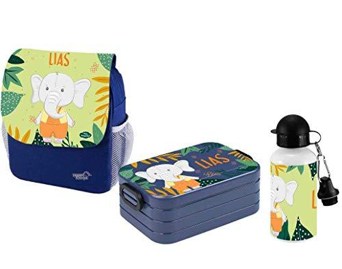 Mijn Zwergenland set 3 kinderdagrugzak met broodtrommel Maxi en fles Happy Knirps Next Print met naam blauw