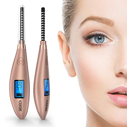 Heated Eyelash Curler Rechargeable Electric Lash Curler with LCD Digital Display Portable Makeup Beauty Eyelash Styling Tool