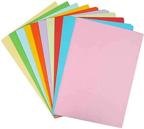 100PCS Cartonnées Couleur A4 A4 Couleur Feuilles Cartonnées Couleur Cartes Colorées Papier Feuilles Couleurs 120g/m² Feuilles de Papier Origami Couleurs(10 Couleurs Aléatoires)
