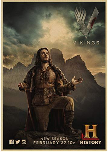 SHENGZI Póster De Lienzo Serie De TV Póster De Vikingos Decoración Moderna para El Hogar Pintura De Pared Arte De La Lona Impresión HD 50 * 70 Cm Marco