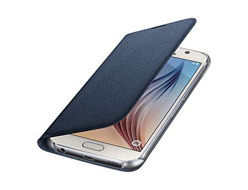 Samsung Fabric Folio Wallet Schutzhülle Case Cover mit Kreditkartenfach für Galaxy S6, schwarz