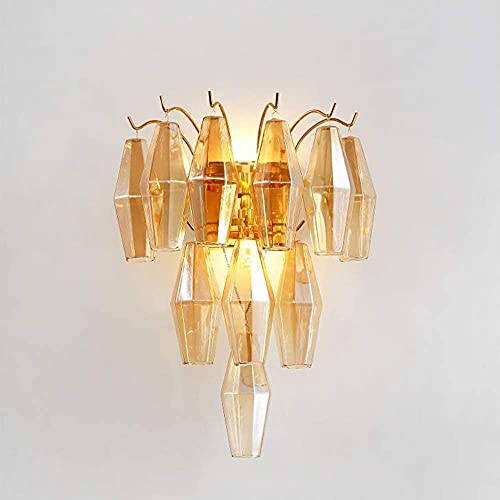 Moderno lujo elegante pared luz ámbar cristal colgante lámpara de pared oro cálido claro corredor comedor sala de estar sala de estar dormitorio noche lámpara de pared escono (Color : Crystal)