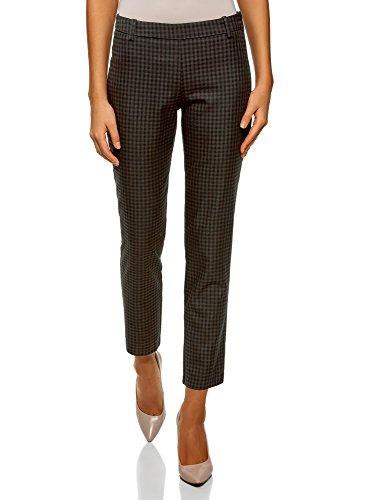 oodji Ultra Mujer Pantalones Ajustados con Cremallera en el Lateral, Negro, ES 36 / XS
