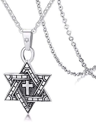 zxcdsaqwe Co.,ltd Necklace David Messiah Star Men s Cross Pendant Necklace Oxidized Gold Silver Tone Megan Jewish Jewelry