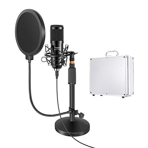Neewer Kit 192KHz/24Bit Plug & Play Microfono Cardioide a Condensatore & Stand con Base Rotonda, Filtro Pop & Supporto Anti-vibrazione & Valigetta, per YouTube Registrazioni di Giochi Podcast